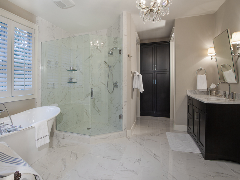 timeless master bath suite in new home
